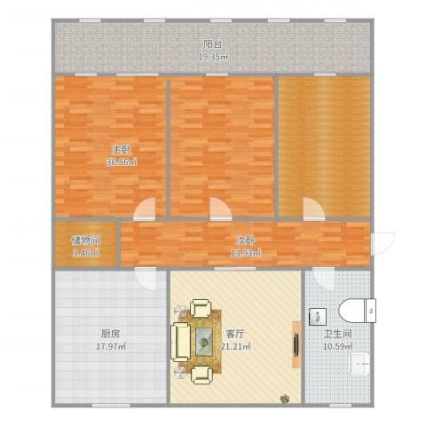 制锦市小区2室1厅1卫1厨174.00㎡户型图