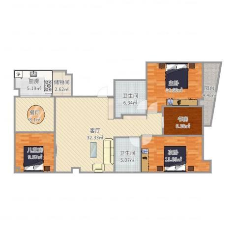 万盛家园4室2厅2卫1厨135.00㎡户型图