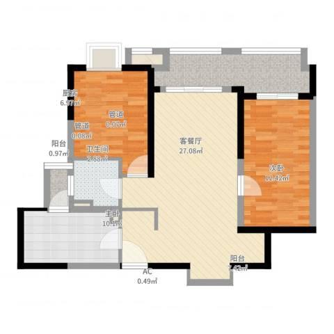大华锦上城2室2厅1卫1厨86.00㎡户型图