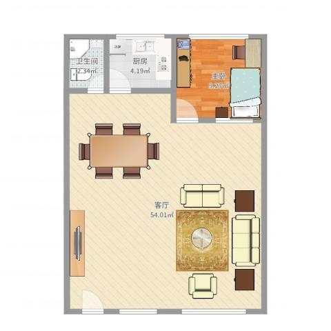 金汇广场1室1厅1卫1厨87.00㎡户型图