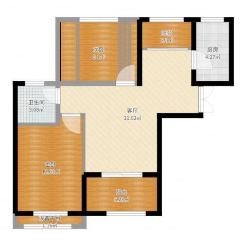 测试物体材质样式2室1厅1卫2厨74.00㎡户型图