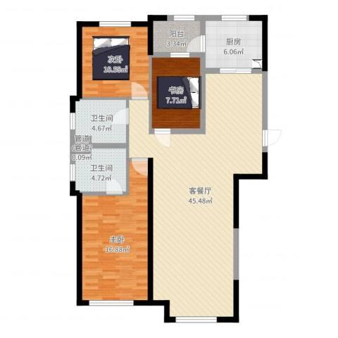 保利拉菲公馆3室2厅2卫1厨125.00㎡户型图