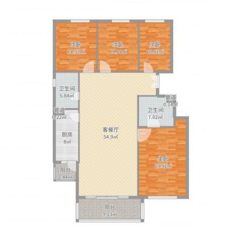 竹溪园4室2厅2卫1厨189.00㎡户型图