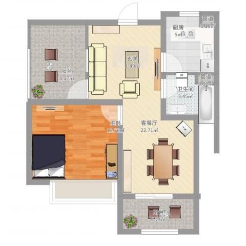 绿地启航社5期1室2厅1卫1厨82.00㎡户型图