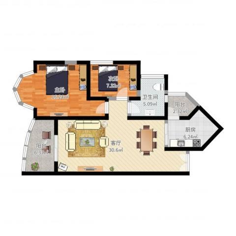 祈福新村晓峰园2室1厅1卫1厨93.00㎡户型图