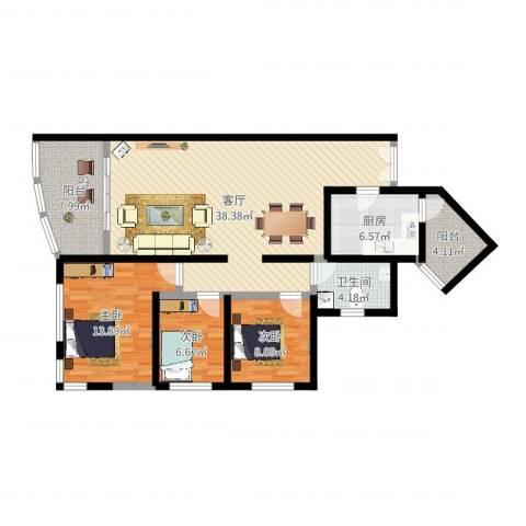 祈福新村晓峰园3室1厅1卫1厨112.00㎡户型图