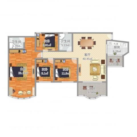 祈福新村晓峰园4室1厅2卫1厨164.00㎡户型图