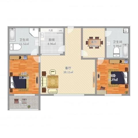 闵富花苑2室2厅2卫1厨148.00㎡户型图