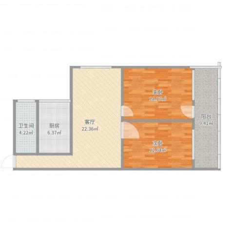 中建小区2室1厅1卫1厨86.00㎡户型图