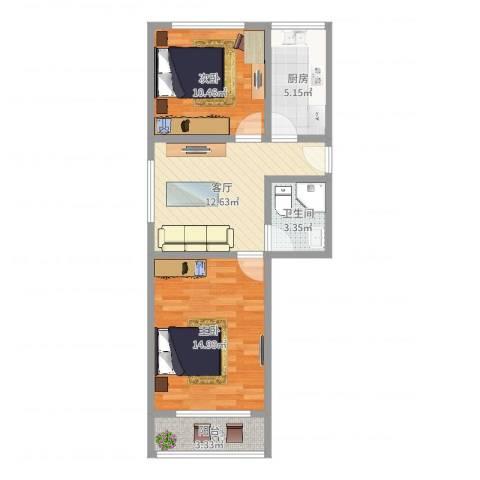 龙州小区2室1厅1卫1厨49.90㎡户型图