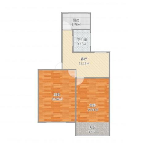 东陆新村四街坊2室1厅1卫1厨64.00㎡户型图