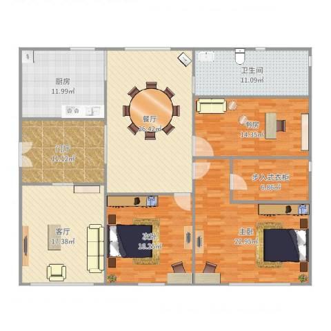 山水文园五期3室2厅1卫1厨173.00㎡户型图