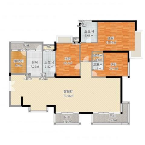 中海银海湾3室2厅3卫1厨216.00㎡户型图