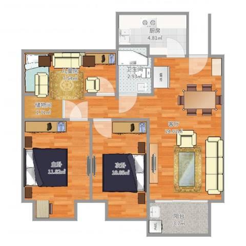 金地湖城艺境3室1厅1卫1厨83.00㎡户型图