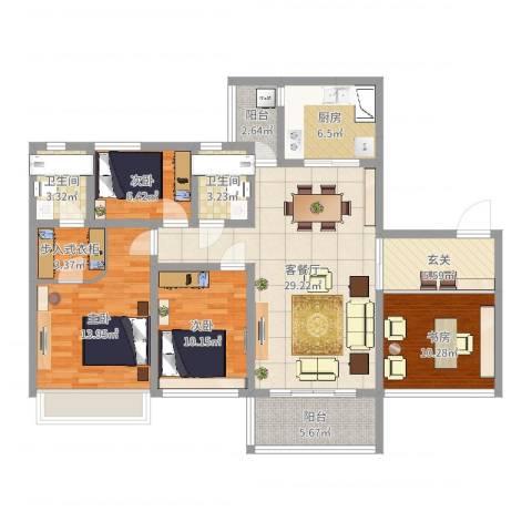 天悦城4室2厅2卫1厨125.00㎡户型图