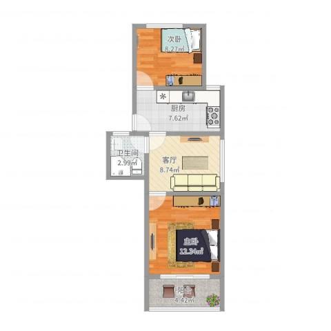 金杨九街坊2室1厅1卫1厨55.00㎡户型图