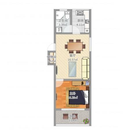 大华一村1室1厅1卫1厨50.00㎡户型图