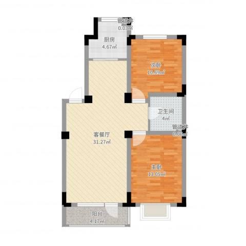 格林阳光城2室2厅1卫1厨85.00㎡户型图