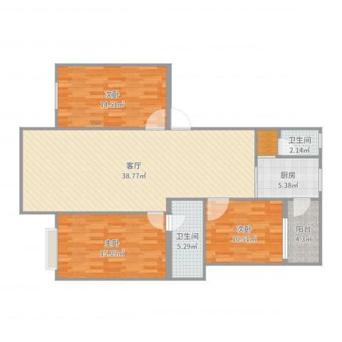 雅居庭3室1厅2卫1厨121.00㎡户型图