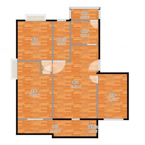 喜利达名苑3室1厅1卫1厨125.00㎡户型图