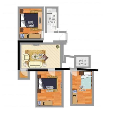 华龙苑南里3室1厅1卫1厨50.00㎡户型图