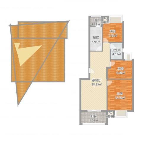 银江花园3室2厅1卫1厨181.00㎡户型图