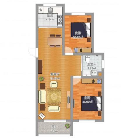 新发北湖花园2室2厅1卫1厨81.00㎡户型图