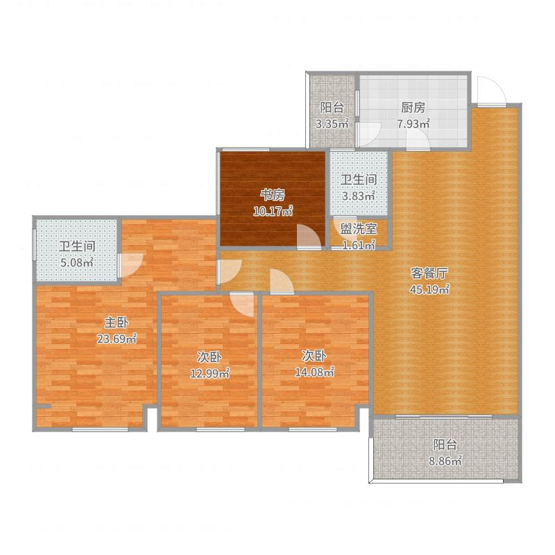 成都房多多B标137.0㎡北辰香麓C1户型4室2厅2卫