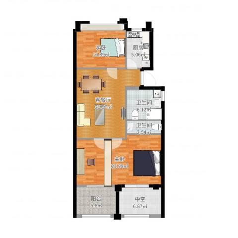 中企御品湾2室2厅2卫1厨105.00㎡户型图