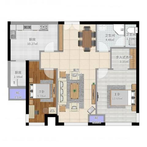 天津富力湾2室1厅2卫2厨95.00㎡户型图