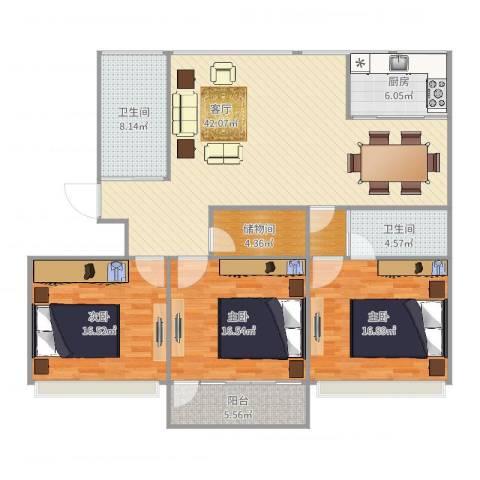 红苹果3室1厅2卫1厨153.00㎡户型图