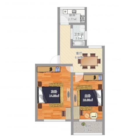 东陆新村六街坊2室1厅1卫1厨54.00㎡户型图