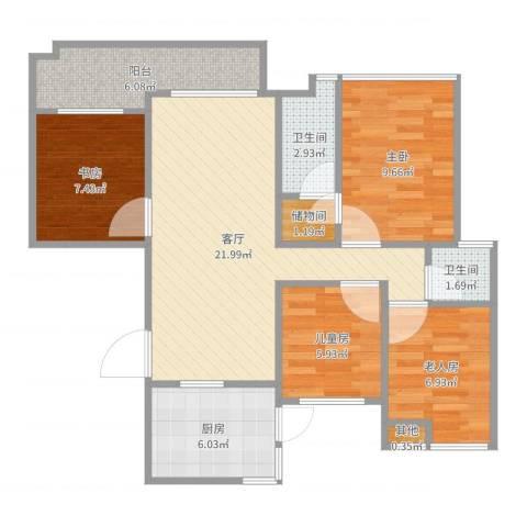 保利外滩花园4室1厅2卫1厨88.00㎡户型图