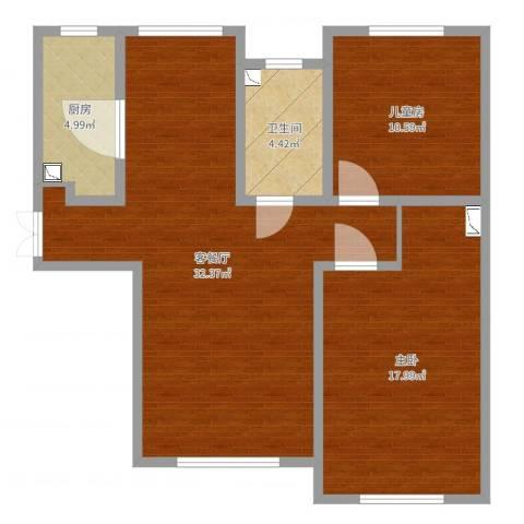威廉公馆2室2厅1卫1厨88.00㎡户型图