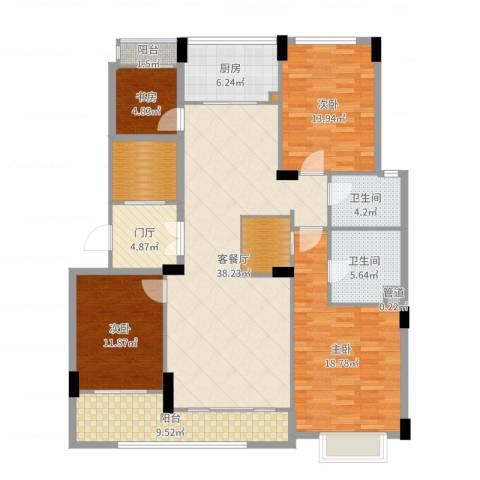 瑞都中央花园4室2厅2卫1厨160.00㎡户型图