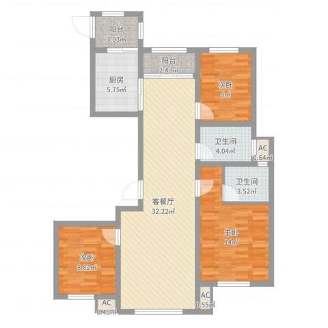 威廉公馆3室2厅2卫1厨104.00㎡户型图