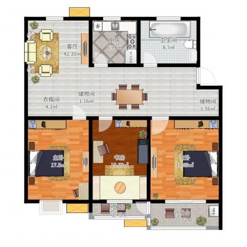 亚美国际花园3室1厅1卫1厨149.00㎡户型图