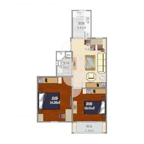 瑞冬小区2室1厅1卫1厨64.00㎡户型图