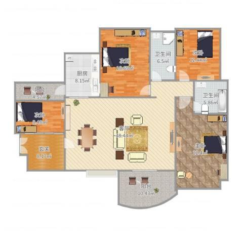 顺宝・天誉花园4室1厅2卫1厨193.00㎡户型图