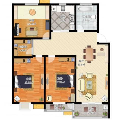 亚美国际花园3室1厅1卫1厨147.00㎡户型图