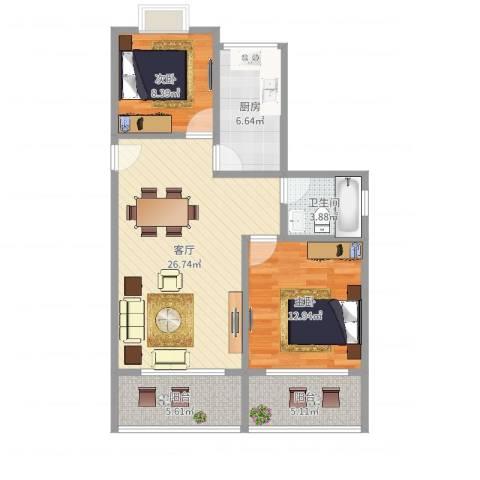 金色米兰苑2室1厅1卫1厨87.00㎡户型图