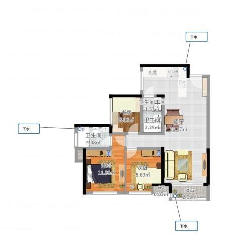 华润城·润府3室1厅4卫1厨93.00㎡户型图