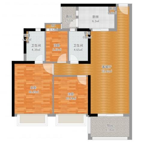 招商金山谷3室2厅2卫1厨115.00㎡户型图