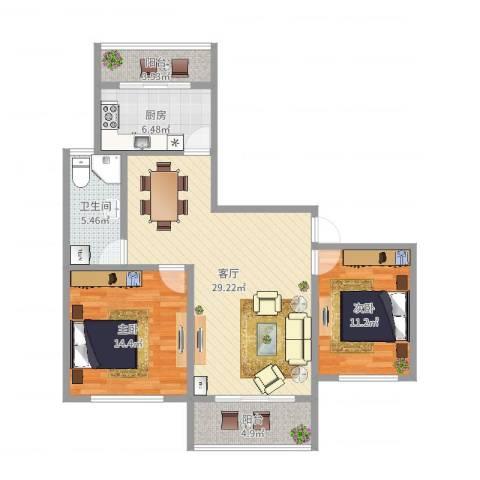 金桥新城三期金丽苑2室1厅1卫1厨94.00㎡户型图