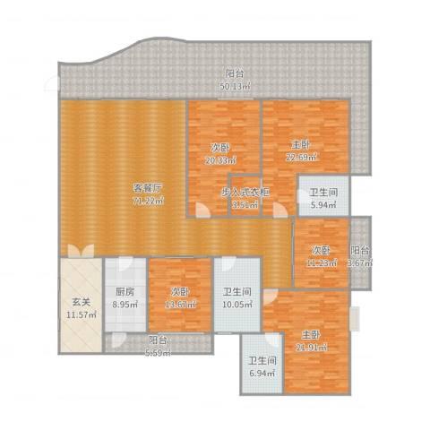 滨海御庭5室2厅3卫1厨334.00㎡户型图