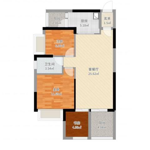 时代倾城3室2厅1卫1厨82.00㎡户型图