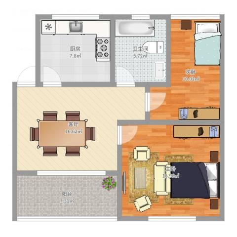 广地花园2室1厅1卫1厨79.00㎡户型图
