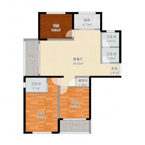 新安苑3室2厅3卫1厨109.25㎡户型图