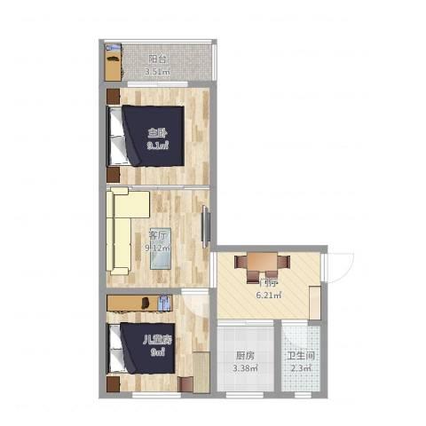 横江里2室1厅1卫1厨53.00㎡户型图