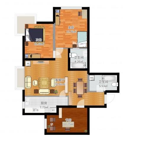 新松・茂樾山3室2厅2卫1厨113.00㎡户型图